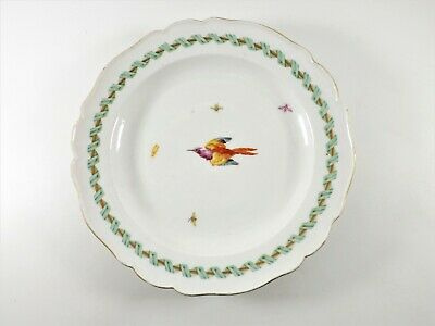 Meissen Plate Decorated With Exotic Bird & Insects Dated 1773 - 1814 Ref 383/1 • 8£