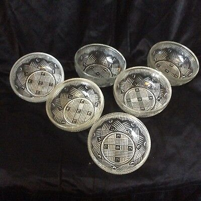 SIX CHANCE GLASS DISHES  BRITANNIA  Pattern • 12£