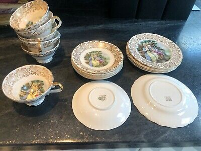 Aynsley Tea Set - 22 Kt Gold Bone China- Courting Couples  • 10£