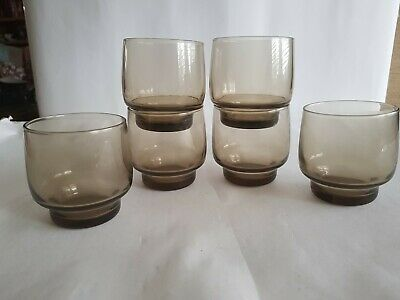 Vintage Smoked Glass Lo Ball Tumblers Glasses 1970s Stackable X 6 MINT  • 5.99£