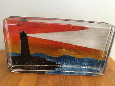 Caithness Glass Seascape Silhouette Of The Sea Sandcast • 25£