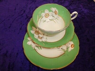 Beautiful Paragon Trio Daffodil Pattern In Green Cup/Saucer/Side Plate Superb • 19.99£