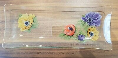 Vintage Chance Rectangular Glass Dish / Tray. Anemone Floral Pattern. 1960s. • 3.40£