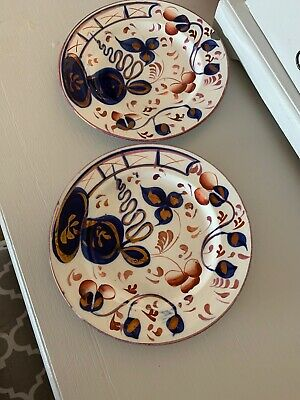 Pair Of Antique Gaudy Welsh Oyster Pattern Side / Cake Plates 15½cm 6  • 8£