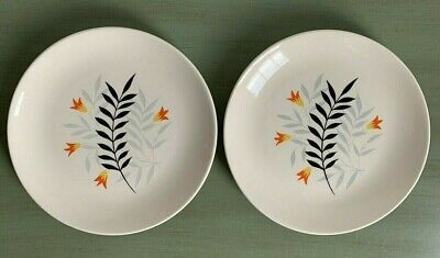 two Vintage Wade Pottery Side Plates Rare Woodmist Black Pattern Good Condition • 4£
