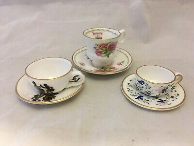 Three Miniature Cups And Saucers Adderley Coalport And Queens • 12.50£