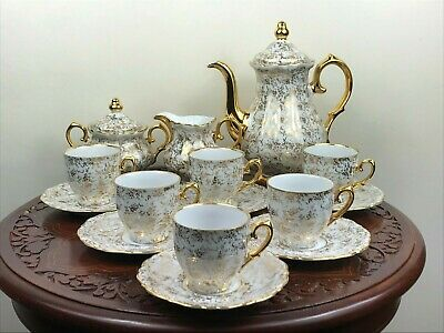 15 Pieces Mid Century Foreign Gilded Porcelain Demitasse Coffee Set • 28.50£
