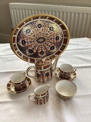 Royal Crown Derby China Old Imari 1128 Miniature Tea Set & Tray 1st Quality • 270£