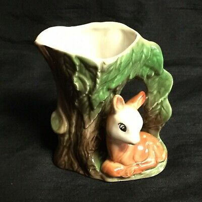 💚 A Very Sweet Vintage 'withernsea Eastgate Pottery' Fauna Deer/fawn Vase • 6£