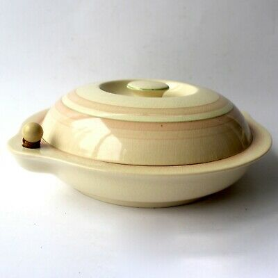 Vintage GRAY'S POTTERY MUFFIN WARMING DISH Banded Art Deco 1938 Pattern A5346 • 45£