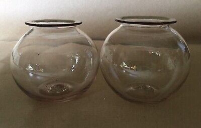 "Pair Of Hand-blown Georgian Or Victorian  Rimmed Glass Bowls 3"" High And 3"" Wide • 19.99£"