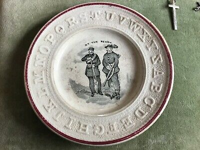 Antique Nursery Alphabet Childs Plate 'At The Ready' Soldiers Huntsmen Boer • 2.99£