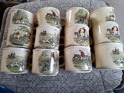 Royal Worcester Palissy Hunting Scenes Cups X 12  • 55£