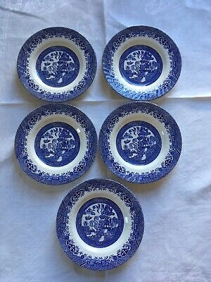 """5 Vintage Barratts Of Staffordshire Fluted Blue Willow Pattern Side Plates 7"""". • 16£"""