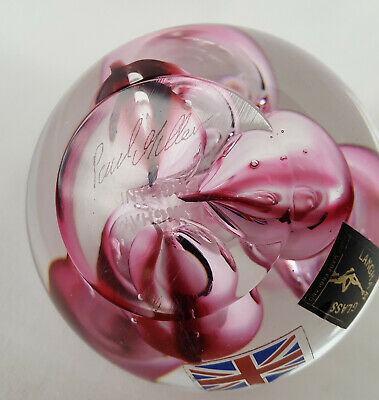 Superb Langham Glass Paperweight Signed By Paul Miller With Deep Pink Bubbles • 24.99£