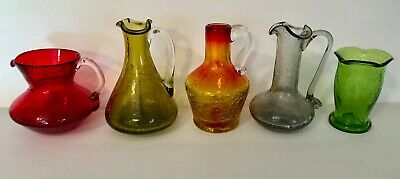 VINTAGE CRACKLE GLASS~MINIATURES~5pc Lot~HANDBLOWN~GREEN GRAY RUBY RED AMBERINA • 42.33£