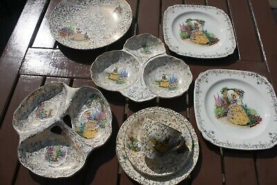 1940s/1950s CRINOLINE LADY PATTERN AFTERNOON TEA SET • 22.95£