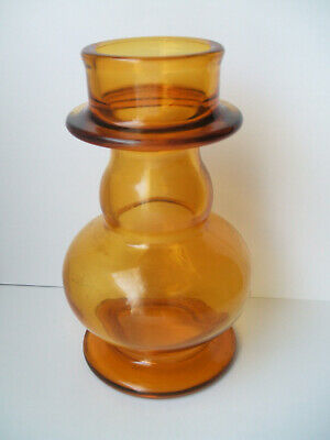 Riihimaki Amber Glass Aladdin Tamara Hooped Vase • 29.99£