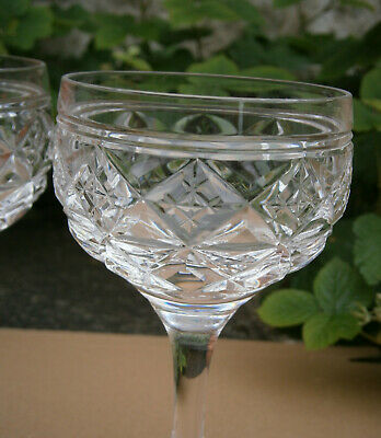Pair Of Stuart Crystal Victoria Cut Pattern Wine Hock Glasses - Signed To Base • 9.99£