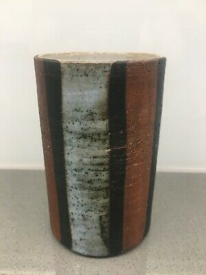 Two Very Attractive Vintage BRIGLIN Pottery Vases - One Striped, One Sgraffito. • 27.50£