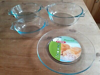 Pyrex Oven Dishes ,3 Oven Dishes ,1 Plate, All In Very Good Condition, • 5.50£