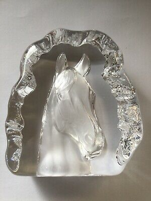 Crystal / Glass Horse Head. Ornament Or Paperweight. Heavy. Condition Used. • 4£