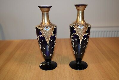 Pair Of Victorian Blue Glass Vases With Gilt And Enamel Decoration,Slight Damage • 28£