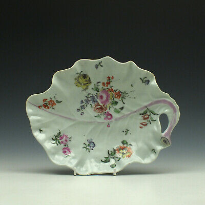 Worcester James Rodgers Floral Pattern Leaf Shape Sweetmeat Dish C1757-60 • 125£