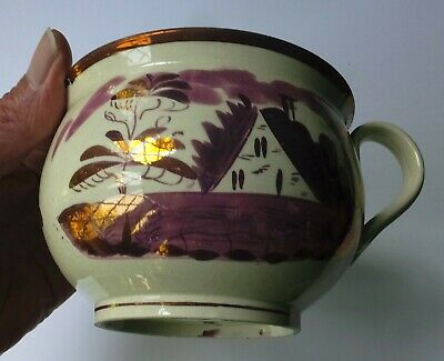 Scarce Antique Purple/pink Lustre Creamware Spitton /vomit Pot /child's Potty? • 180£