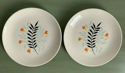 two Vintage Wade Pottery Side Plates Rare Woodmist Black Pattern Good Condition • 3.90£