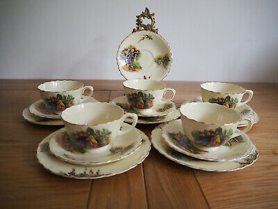 Vintage Crown Ducal Old Hall Ivory Ware Set Of 6 Tea Cup Trios - 18 Pieces • 99.99£