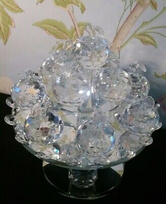 Crystal Mirrored Apples Ornament On Rotating Stand Living Room, Home Decor • 24.99£