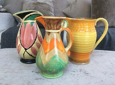 Vintage Art Deco Jugs, 2 Myott, 1 Shelley. Damaged • 25£