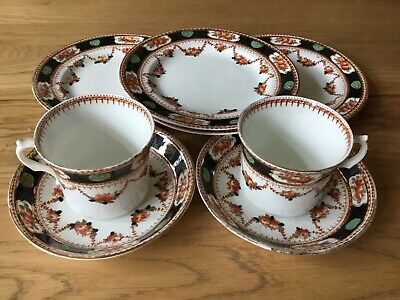 Royal Vale Hjc Longton Swags And Gilt Design - China Open Tea For Two 8 Pieces • 13.95£