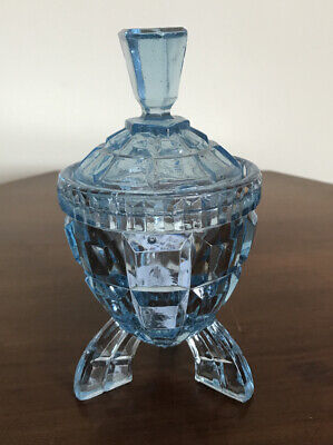 Vintage Art Deco Tall Footed Blue Glass Sugar Bowl With Lid • 12£