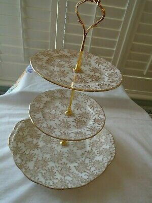 Vintage Royal Vale Gold & White 3 Tiered Teaset Cakestand Perfect For A Wedding • 14.99£