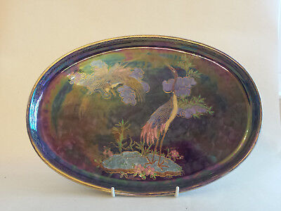 Lovely Large Unusual Art Deco Maling Lustre Tray/dish With Exotic Birds • 99£