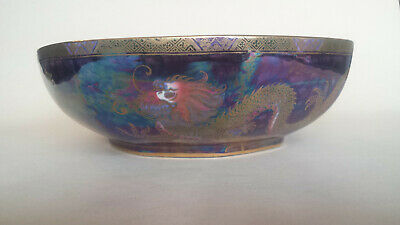 Very Unusual Maling Gilded Lustre Octagonal Bowl With Dragons 3311 • 249.99£