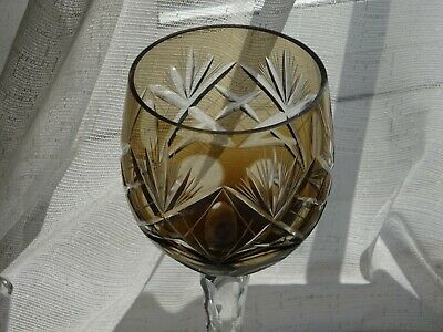 Vintage German Smokey Topaz Coloured Crystal Wine Hock Glass  • 25£