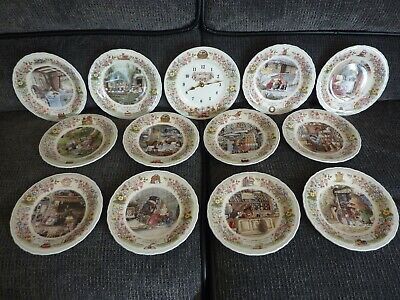 Foxwood Tales Wedgwood Bone China Collectors Plates & Clock 1990 Paterson • 26£