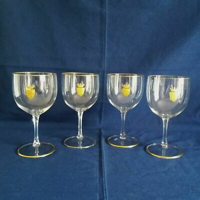 Set Of Four Galway Irish Lead Crystal Clarity Goblets With Gold Rims And Crest • 28£