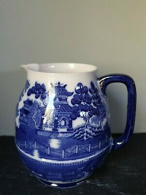 Antique Doulton Burslem Blue And White Willow Pattern Large Jug A/F • 35£