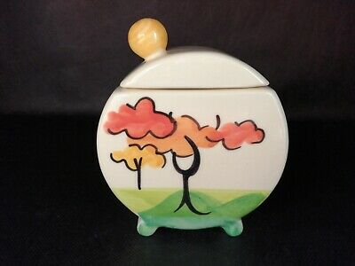 Past Times Art Deco Covered Sugar Bowl Clarice Cliff Style IMMACULATE • 51£