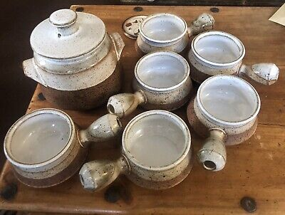 Soup Tureen And 6 Soup Bowls - Iden Pottery, Rye • 14.99£