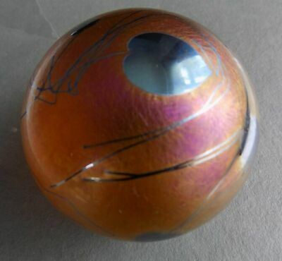 Iridescent Copper And Gold Glasform Paperweight, SIGNED J. Ditchfield- Superb • 85£
