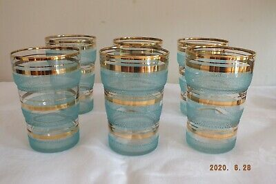 Retro Sugar Frosted Glasses X 6, Gold/blue, Good Condition @ 1960s • 9.99£
