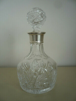 Lovely Slice Cut Glass Decanter With Solid Silver Collar -  • 50£