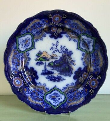 Blue And White Antique Flow Blue Ironstone Plate Oriental Style A/f • 4.90£