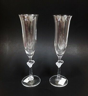 New Set Of 2 Clear With 2 3d Hearts Champagne Flute Glasses • 26.10£