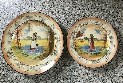 Two Rare Vintage Royal Doulton  Bluebell Gatherers  Plates Diameter 240 & 190 Mm • 39.99£
